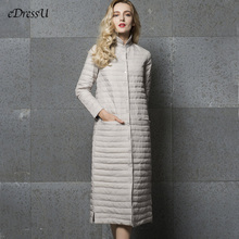 Long Down-Jacket Women Long Jacket Grey Outwear Ultra light Down