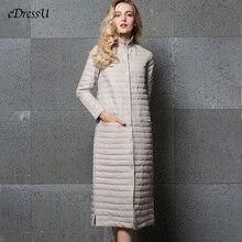 ยาวลงเสื้อผู้หญิงยาวสีเทาOutwear Ultra Light Down Coat STAND COLLARฤดูใบไม้ร่วงฤดูหนาวเสื้อCASUAL warm Coat YD 13