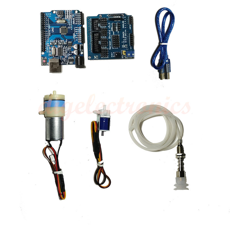 For Arduino UNO R3+Sensor Shiled 370 Motor Servo Micro Vacuum Pump With PWN Electronic Switch Three-way Electronic Valve