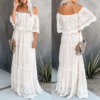 Women Bohemian Lace Dress Fashion Sexy Off Shoulder Summer Dress Beach Casual Long Maxi Dresses Evening Party Robe striped lace trim off shoulder dress