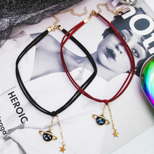 New fashion vast planet pendant necklace short necklace universe star pentacle neck with collarbone chain gift party rhinestone star collarbone necklace set