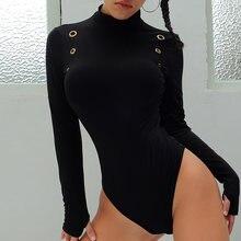 Женское боди с длинным рукавом готическое черное облегающее