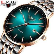 Часы наручные lige Мужские кварцевые роскошные спортивные водонепроницаемые