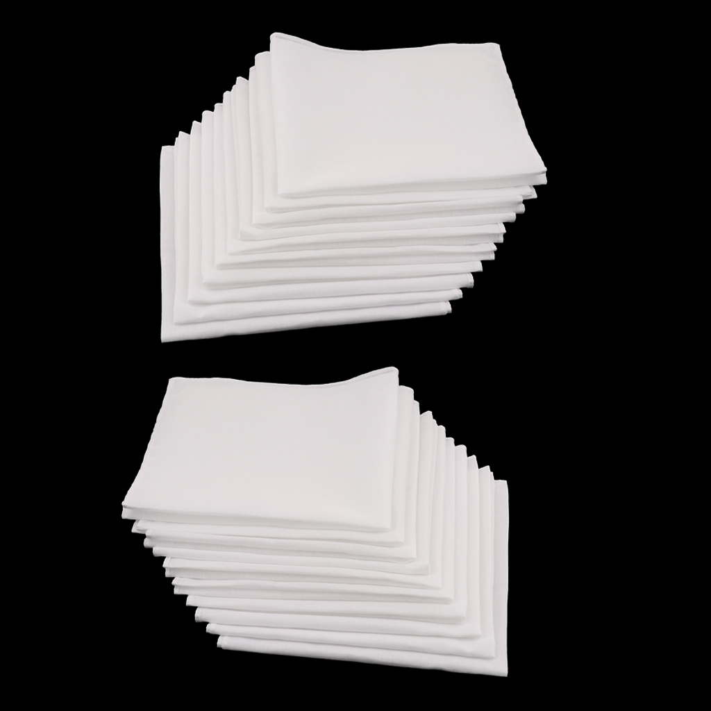 20pcs White Blank Handkerchiefs 100% Cotton Square Soft & Washable Gentle Hanky Children's Graffiti Blank Handkerchief 28 X 28cm