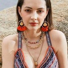 Модные женские серьги + ожерелье набор из хлопчатобумажной нити