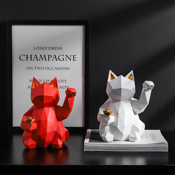 Lucky Cat Statue Nordic Geometric Animal Statues for Home Decoration TV Home Living Room Figurine Creative Wine Cooler Sculpture