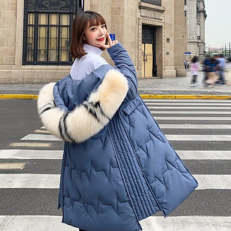 Winter Long Down Coat Women 2019 Thick Hooded Zipper Coat Plus Size Bread Clothing Outwear White Duck Down Warm Parkas Jacket