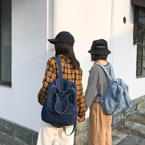 Image 2 - Denim School Bag Teenager Backpack Ladies High Capacity Women Backpacks 2019 Travel Bag Students Mochila Bolsa harajuku backpack