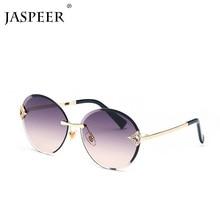 JASPEER Round Frameless trimming Sunglasses Women Men Diamond Sun Glasses Brand Design Vintage Eyewear