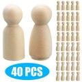 40 шт./компл. 35 мм деревянные Peg Doll DIY Ручная работа пустые женские и мужские Неокрашенные Фигурки для детей