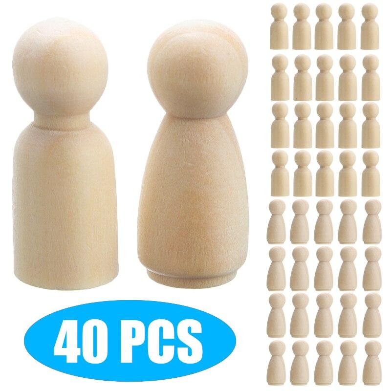 40pcs/set 35mm Wooden Peg Doll DIY Craft Handmade Blank Female Male Unpainted Figures For Children Kids