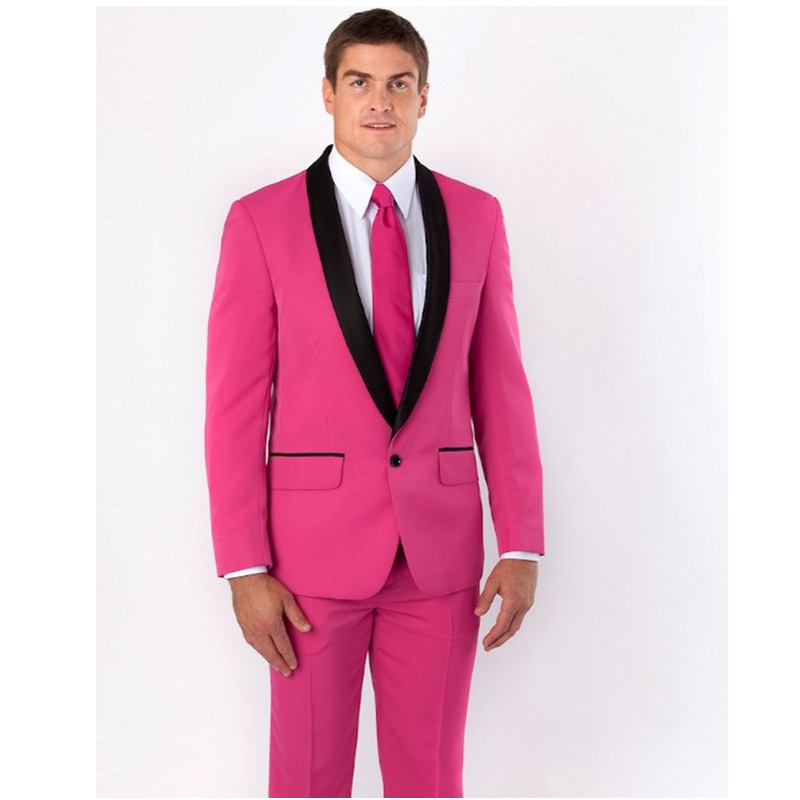 Custom Made New Arrival Groomsmen Shawl Black Lapel Groom Tuxedos Hot Pink Men Suits Wedding Best Man (Jacket+Pants)
