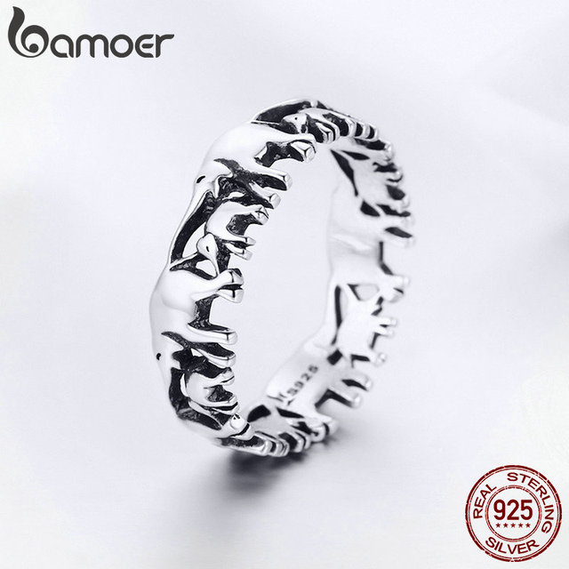 BAMOER 925 Sterling Silver Stackable Animal Collection Elephant Family Finger Rings for Women Jewelyr SCR344 2