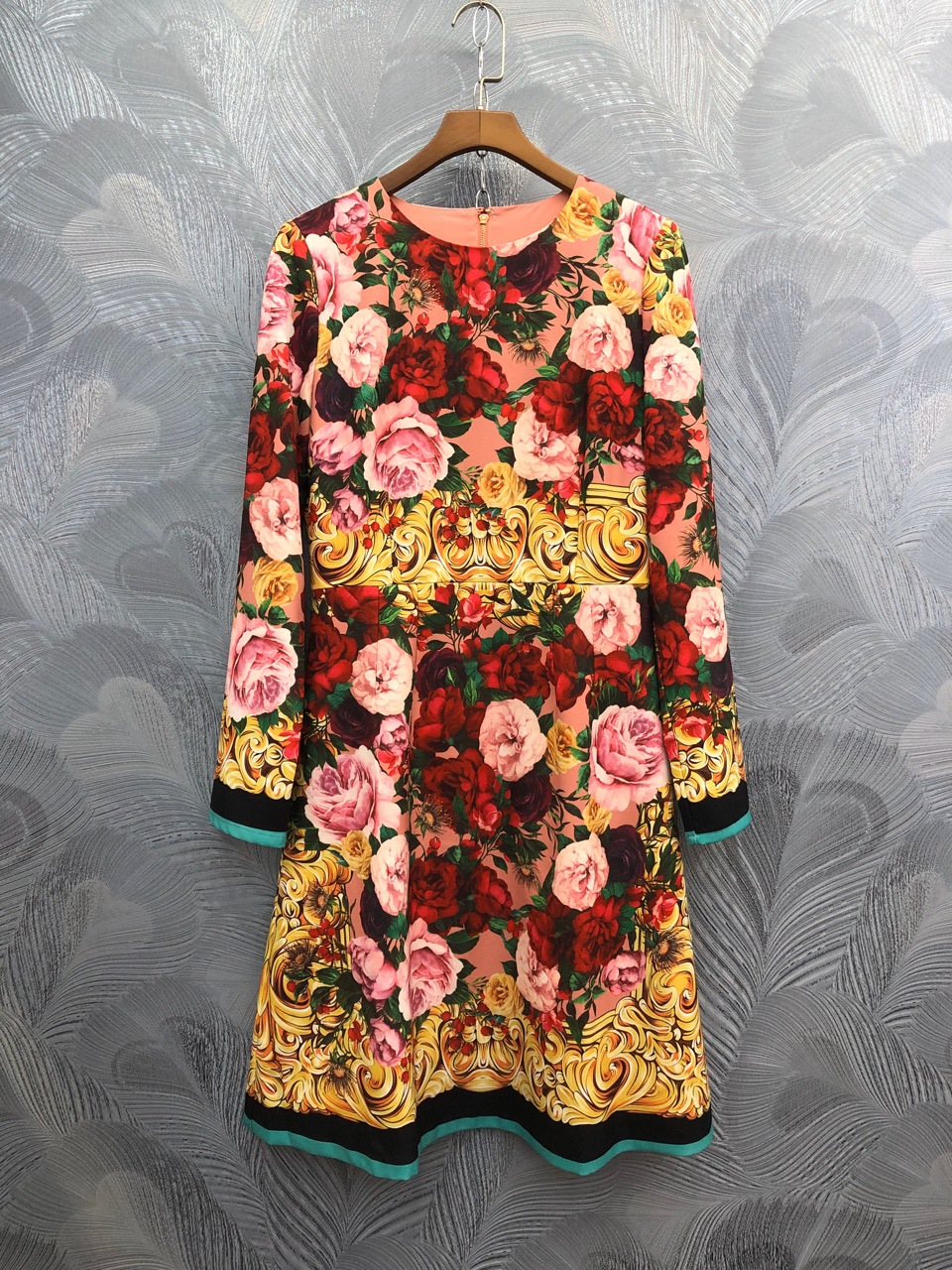 Chic women's floral print half sleeve dress 2020 spring summer runways elegant vintage dress B235