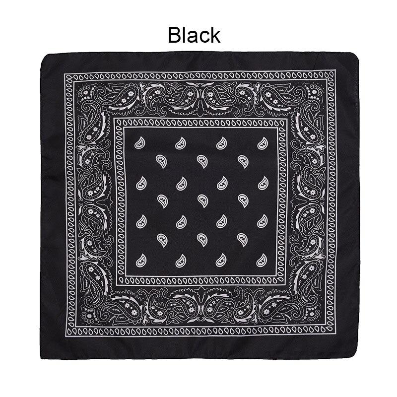 55 см* 55 см, унисекс, черная бандана, модный головной убор, повязка на голову, шейный шарф, повязки на запястье, квадратные шарфы, платок с принтом, Прямая поставка - Цвет: Black