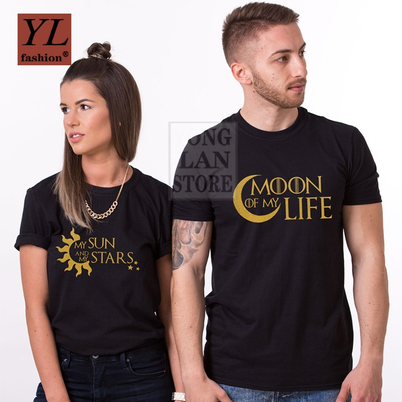 Summer Fashion T Shirt 100% Cotton Enjoy the Spirit Couple T Shirt Valentine's Day Gift His and Hers Love Moon of My Life image
