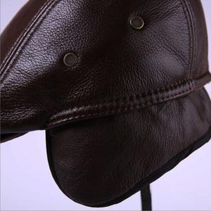 Image 4 - 2020 חדש לגמרי גברים של אמיתי עור אמיתי כובע בייסבול כובע מותג newsboy/כומתה כובע חורף חם כובעי כובעי עור פרה כובע