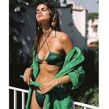Maillot de bain avec plis, soutien-gorge Push Up, Bikini, ensemble deux pièces, couleur unie, Sexy, pour les femmes, vêtements de plage, tendance 2021
