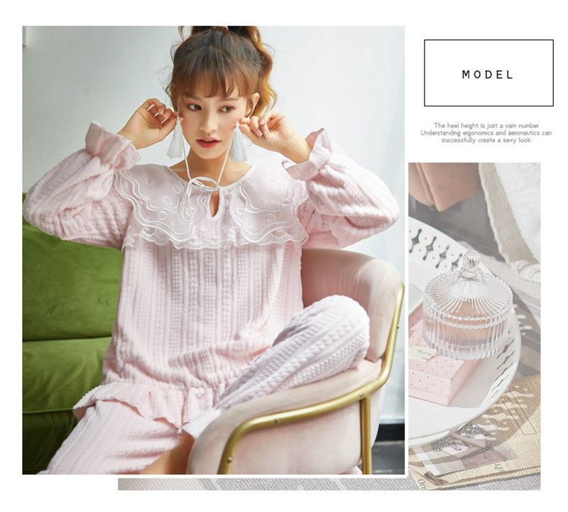 JULY'S SONG Flannel Women Pajama Sets Sleepwear Air Cotton Winter Pajamas Thick Warm Lace Long Sleeves Full Trousers Homewear 42