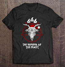 Men T Shirt 666 The Number Of The Feast - Baphomet Women t-shirt(China)