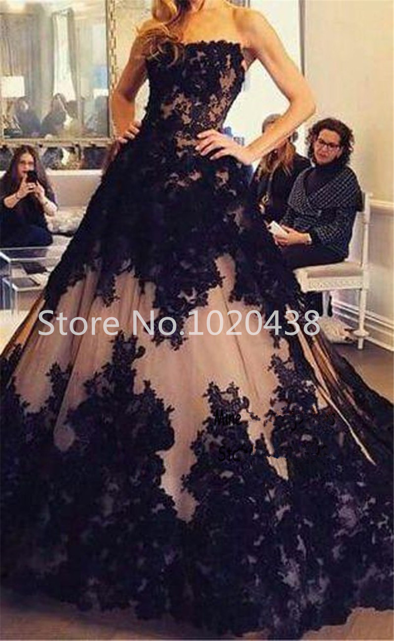 Vintage Black Lace Strapless Sleeveless Applique Lace Long Evening Pageant Gown Princess Style Prom Mother Of The Bride Dresses