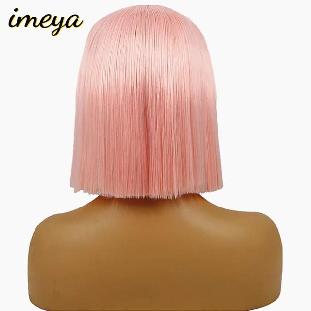 Peluca de encaje de pelo Imeya 10 pulgadas de Color amarillo rosado rojo de corte corto Bob pelucas rectas para mujeres negras pelucas sintéticas peluca frontal del cordón del pelo
