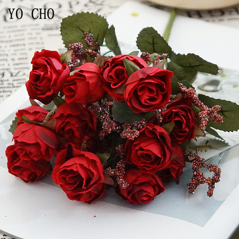 1 Bunch Small Artificial Rose Flowers 15 Heads Flannel DIY Fake Floral For Wedding Wall Table Door Party Home Decor Fabric Flore