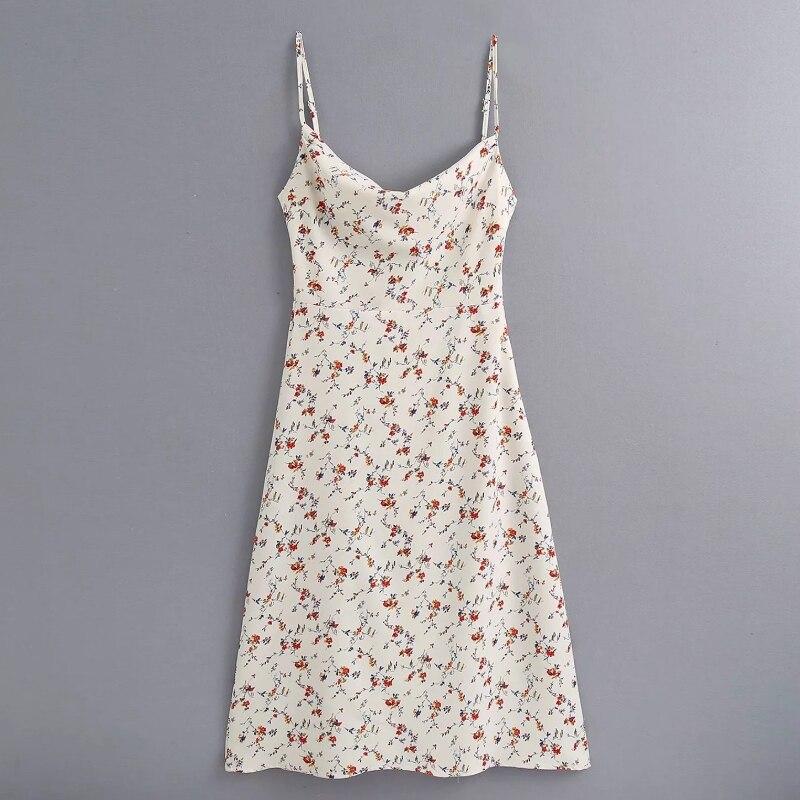 New 2020 Women Fashion Slash Neck Floral Print Sling A Line Dress Female Spaghetti Strap Side Zipper Vestido Chic Dresses DS3740
