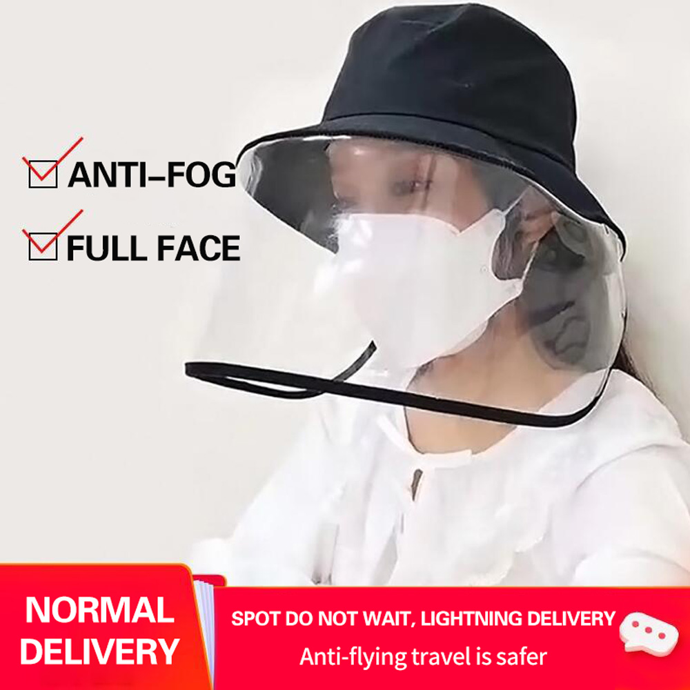 1pc/20pcs Clear Face Cover and Transparent Fisherman Hat to Block the Droplets and Prevent Infection 2
