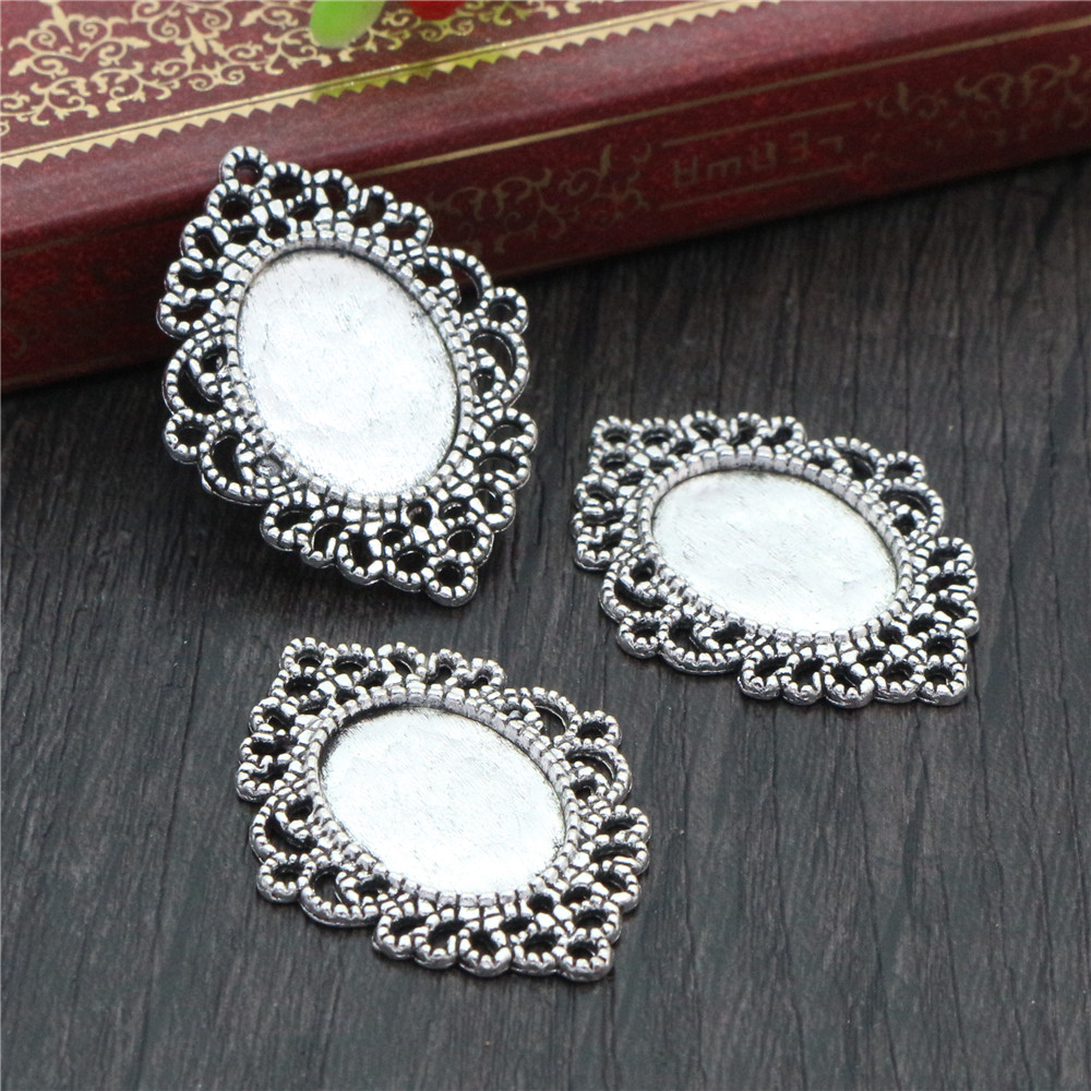 6pcs 13x18mm Inner Size Antique Silver Simple Style Cameo Cabochon Base Setting Charms Pendant Necklace Findings  (D4-25)
