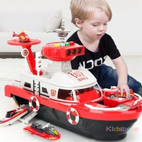 Juguetes para niños de simulación, pista de inercia, barco fundido a presión y vehículos de juguete, historia musical ligera, modelo de barco de juguete, coche de estacionamiento