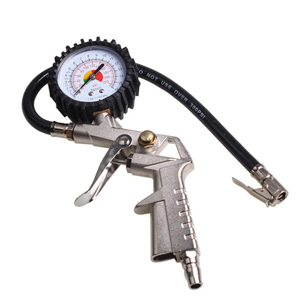 Multi-functional Car Truck Air Tire Pressure Inflator Gauge Dial Meter Vehicle Tester Tyre Inflation Gun Monitoring Tool Hot