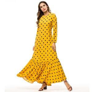 Женское желтое платье с оборками размера плюс 4XL, длинное платье макси в горошек с длинным рукавом, абайя, мусульманская, Турецкая Русалка, Д...