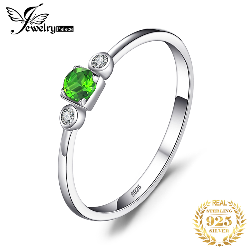 JewelryPalace Genuine White Topaz Diopside Ring 925 Sterling Silver Rings For Women Engagement Ring Silver 925 Gemstones Jewelry