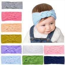 Chinese Knot Baby Headbands For Girls Handmade Nylon Solid Stretchy Soft Turban Headband Newborn Infant Hair Accessories