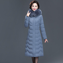 Ladies winter coat large size thick long section mother's cotton coat middle-aged and old temperament coat women's clothing