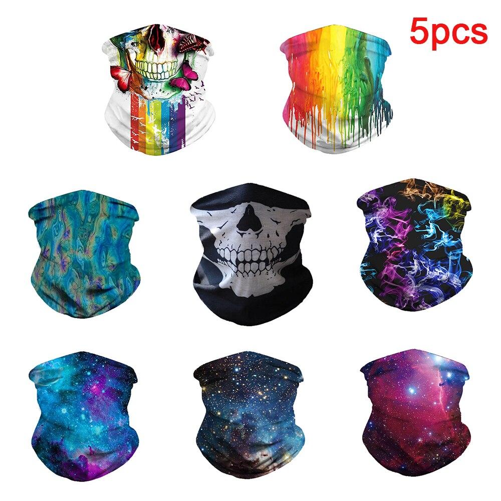 5pcs 3D Seamless Balaclava Magic Scarf Neck Skull Face Mask Ghost Bandana Neck Ring Shield Headband Cycling Tube Scarf Headwear