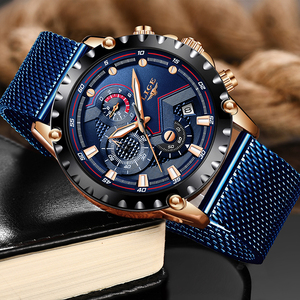 Image 3 - LIGE New Mens Watches Male Fashion Top Brand Luxury Stainless Steel Blue Quartz Watch Men Casual Sport Waterproof Watch Relogio