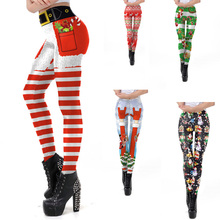 2019 New Christmas Leggings 3D Print Holiday Leggins Party Skinny Pants Push Up Sexy High Waist Womens Clothes Plus Size