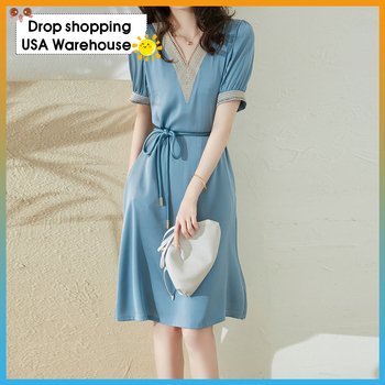 V-neck hollow embroidery dress 2020 new elegant temperament lace waist slimming silk DRESS Autumn Fashion New