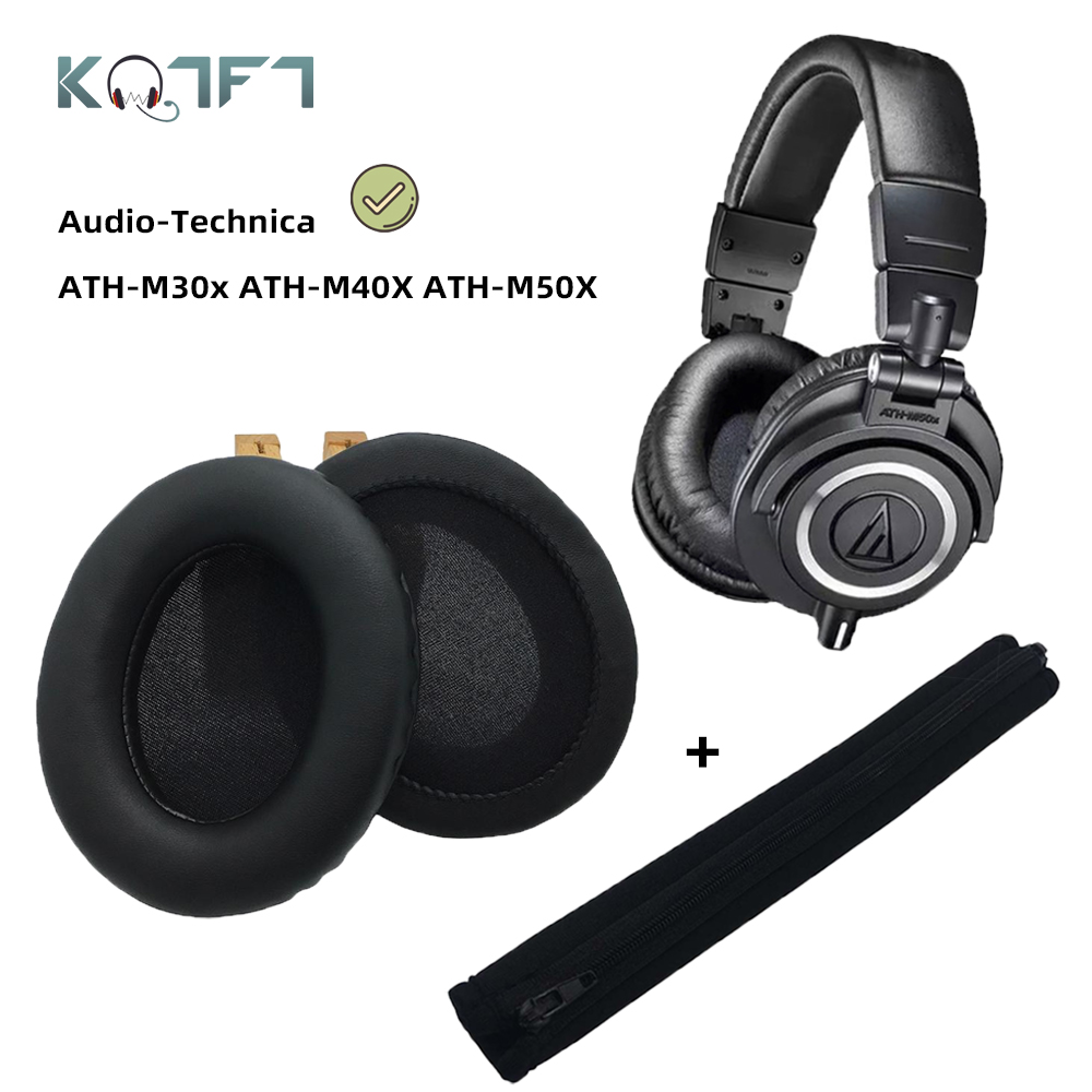 KQTFT Replacement Headband EarPads for Audio Technica ATH M50X M50 M40X M40 M30X M20X Bumper Earmuff Cover Cushion Cups