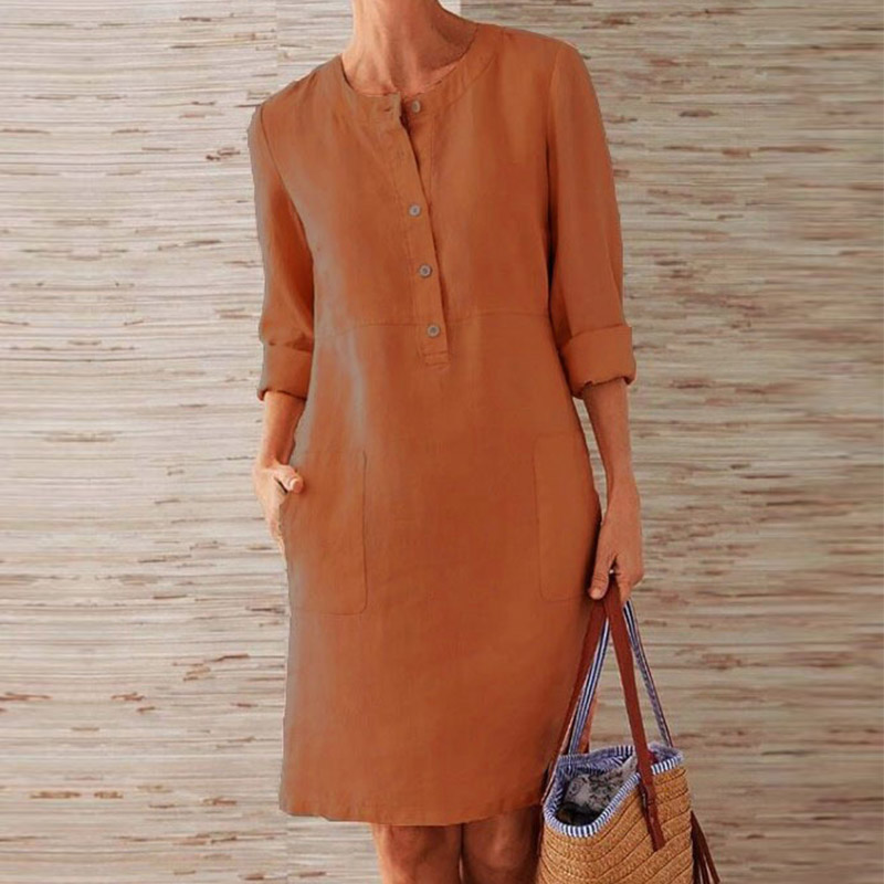 CAIDA Spring Cotton Linen Dress Fashion Button O-Neck Knee Party Dress Women Long Sleeve Pocket Solid Dresses 9