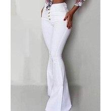 2019 High Waist Pants Fashion Women Autumn Trousers Solid Elastic Leggings Bell-bottoms Wide Leg Pants