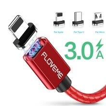 Floveme 3A磁気ケーブルマイクロusbタイプcケーブルiphone 11 1メートル急速充電usb c電話マグネット充電器サムスンxiaomi