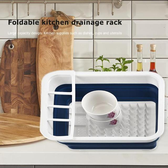 New Foldable Dish Rack Kitchen Storage Holder Drainer Bowl Tableware Plate Portable Drying Rack Home Shelf Dinnerware Organizer 3