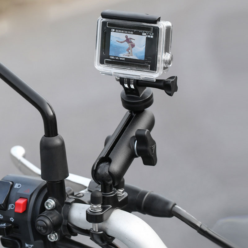 Motorcycle Bike Camera Holder Handlebar Mirror Mount Bracket 1/4 Metal Stand For GoPro Hero8/7/6/5/4/3+ Action Cameras Accessory-5