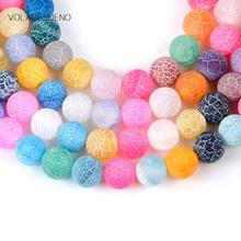 Natural Matte Frost Cracked Multicolor Stone Round Loose Beads For Jewelry Making 4-12mm Spacer Fit Diy Bracelet Necklace