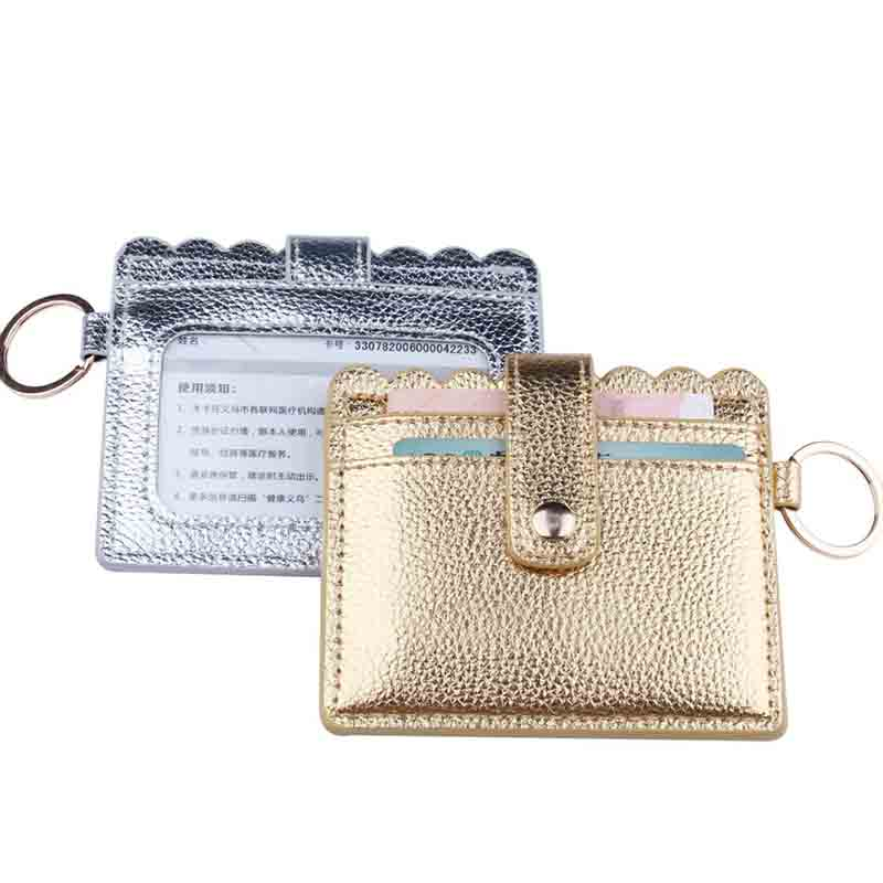 New Arrival High Quanlity Simple Bright PU Leather Casual Card Holders Women PU Zipper Change Purse Girls Mini Key Card Bag Gift