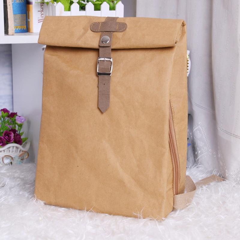 PUBGS Unisex Backpack 2019 NEW Kraft Paper Bag Multifunctional Large Capacity Washable Tear-resisitant Environmental-friendly