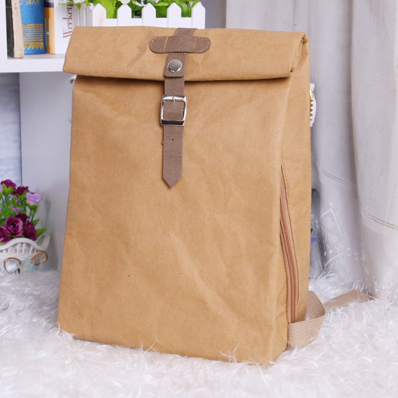 PUBGS Unisex Backpack New Kraft Paper Student School Bag Multifunctional Large Capacity Washable Tear-resistant Environmentally